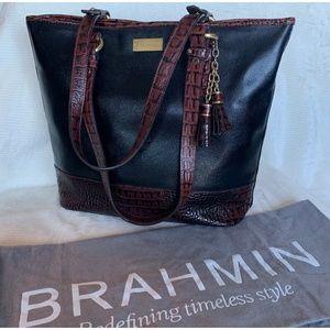 Brahmin Classic Black w/ Brown Croc Trim Tote